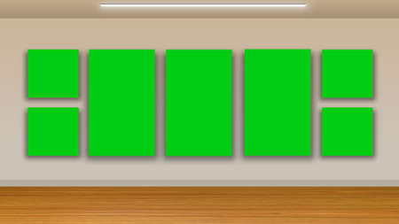 unoccupied: blank frames on green wall and wooden floor - interior gallery