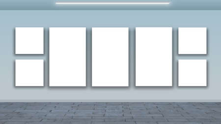 display type: blank frames on wall and wooden floor - interior gallery
