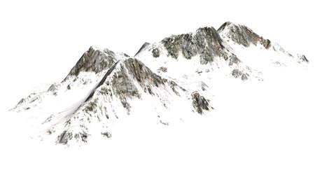 montañas nevadas: Snowy Mountains - separadas en el fondo blanco Foto de archivo