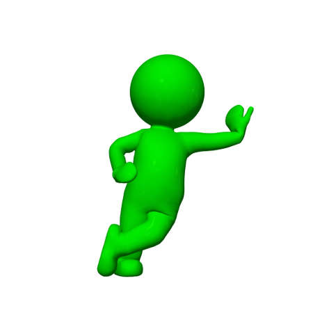 lean: green 3D People - lean 3 - isolated on white background Stock Photo