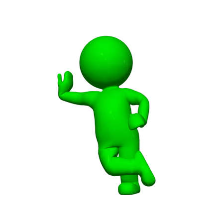 lean: green 3D People - lean 1 - isolated on white background Stock Photo