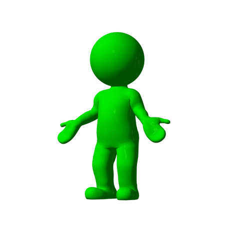 no idea: green 3D People - no idea 2 - isolated on white background