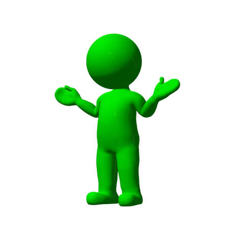 no people: green 3D People - no idea  - isolated on white background Stock Photo