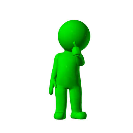 agree: green 3D People - agree 2 - isolated on white background Stock Photo