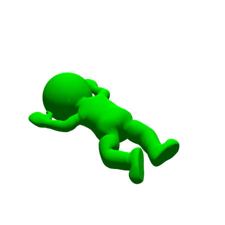 fall down: green 3D People - fall down 1 - isolated on white background