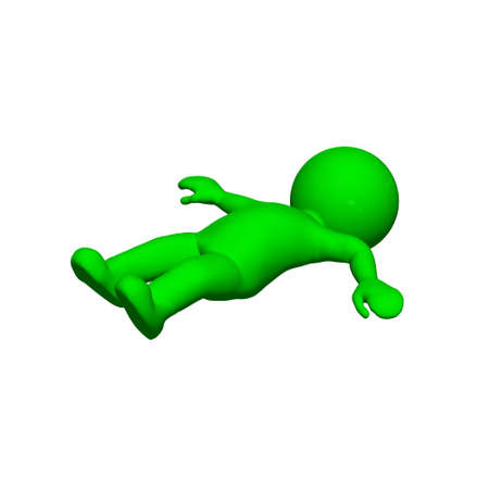 fall down: green 3D People - fall down 3  - isolated on white background