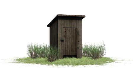 Outhouse Toilet - isolated on white background Stock Photo