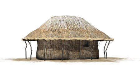 thatch: thatch hut - isolated on white background