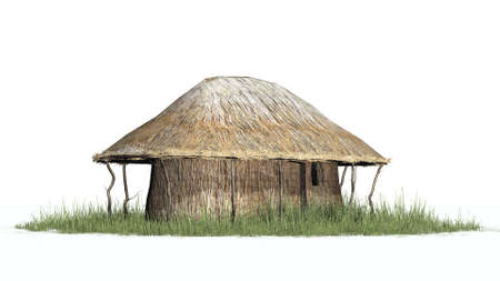 hut: thatch hut in grass - isolated on white background