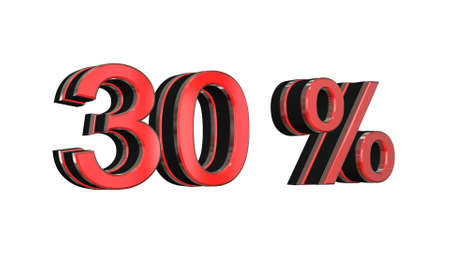 30: 30 percent - 3D text on white background