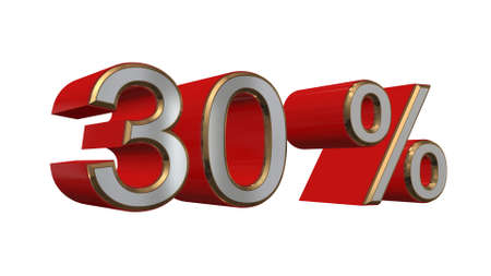 thirty percent off: 30 percent - 3D text on white background