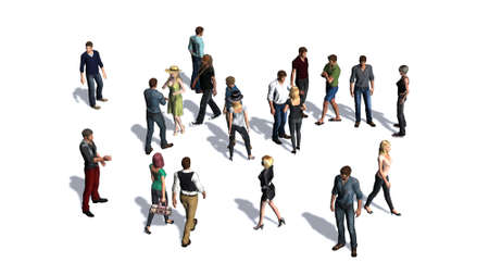 social gathering: Crowd of people isolated on white background
