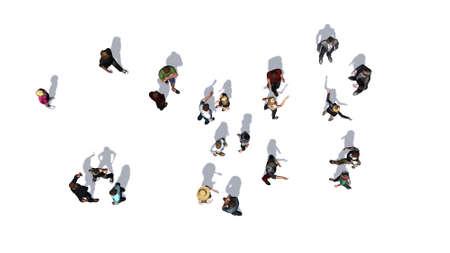 Menigte van mensen in bovenaanzicht op een witte achtergrond