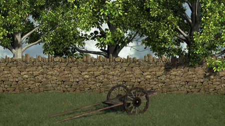old wood farm wagon: Ancient cart in front stone wall and trees