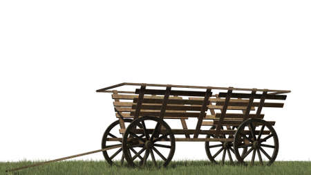 ligneous: Ancient cart on grass surface - isolated on white background Stock Photo