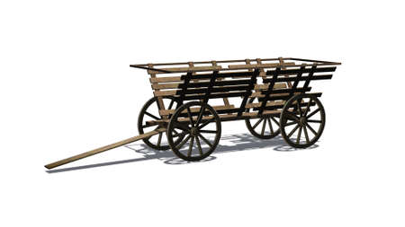 old wood farm wagon: Ancient cart with shadow - isolated on white background