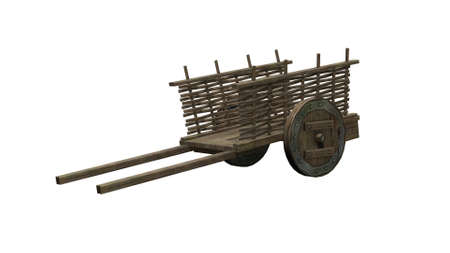 old wood farm wagon: Ancient cart - isolated on white background