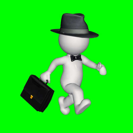 green screen: 3D people - business man with hat and briefcase - green screen