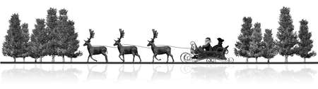 santa sleigh: Christmas panorama - Santa Claus, sleigh, reindeers, trees - black white with reflection Stock Photo