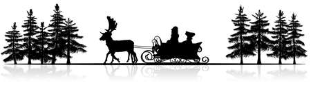 santa sleigh: Christmas panorama - Santa Claus sleigh, rendeers, trees - silhouette with reflection