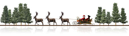 santa sleigh: Christmas panorama - Santa Claus sleigh, rendeers, trees - with reflection Stock Photo