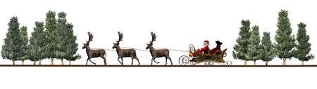 Christmas panorama - Santa Claus sleigh, rendeers, trees Stock Photo