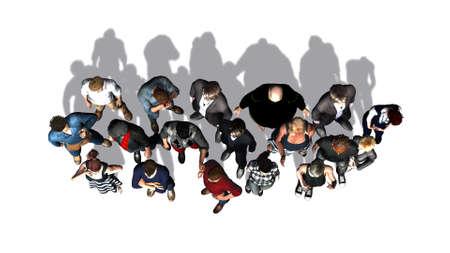白い背景に分離されたトップ - からの人々 の群衆 写真素材