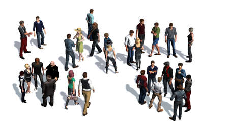 1 place: a crowd of people - isolated on white background Stock Photo