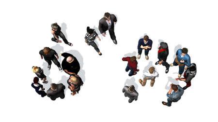 een menigte van mensen van boven - geïsoleerd op een witte achtergrond