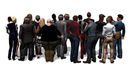 リア - 白い背景の分離からの人々 の群衆