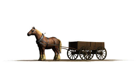 medieval - farm horse with wagon - isolated on white background