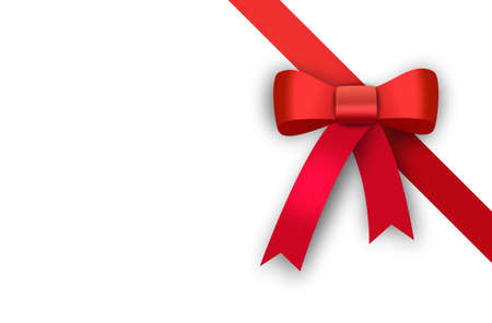 gift card, red ribbon, red loop, bow Stock Photo