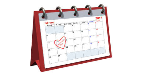 table calendar showing the date 14th of February, the Valentines Day