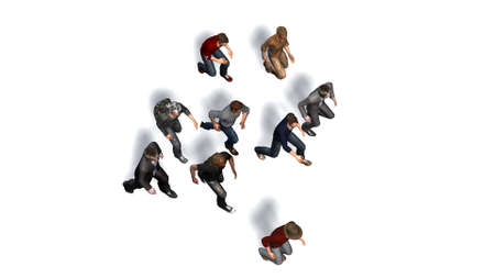 Small group of men running - isolated on white background - 3d illustration Stock Photo