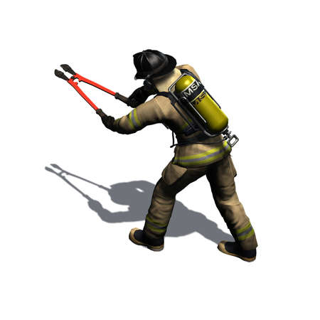 Isolated 3D image stock photography Firefighter