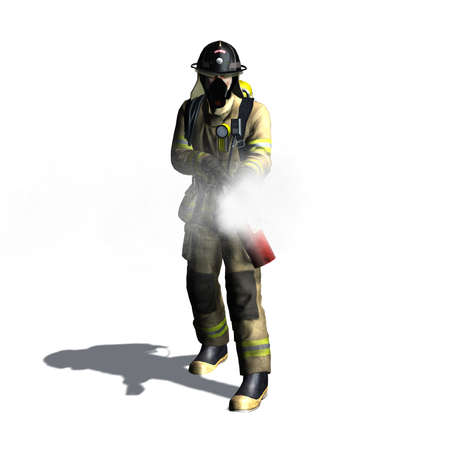 pincers: 3d illustration. Stock photography Firefighter with fire extinguisher isolated on white background. 3d illustration