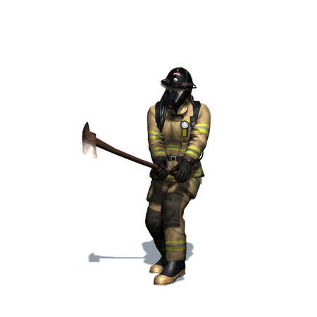 Vector illustration. Stock photography Fireman. Vector illustration