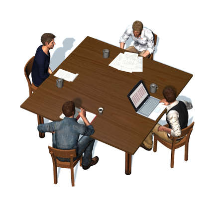 round chairs: Men sitting at table in a meeting - business - top view - isolated on white background
