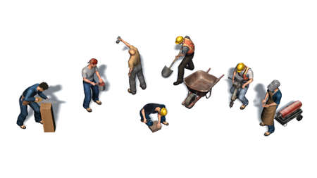 Workers of different professions with their tools shown
