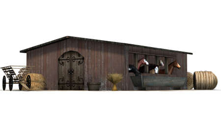 Horses in barn - isolated on white background Standard-Bild - 106023616