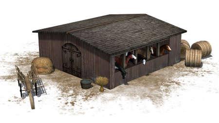 Horses in barn - isolated on white background Banco de Imagens - 106023632