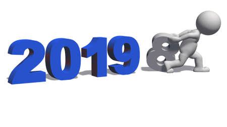 Year change to 2019 with 3D people - isolated on white background - 3D rendering Stock Photo
