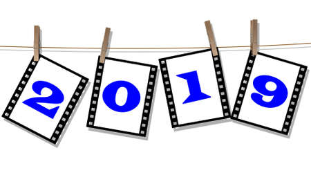 Year change 2019 - Numbers on filmstrips hang on a leash