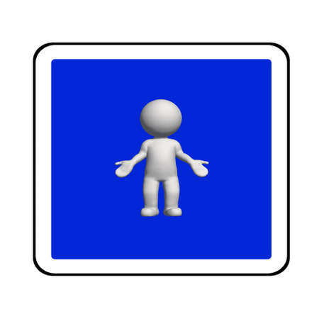 road sign - white 3D man on blue shows no idea - isolated on white background