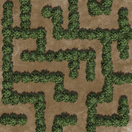 Boxwood labyrinth on a sand area Banque d'images - 118541382