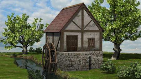 Water mill on the brook between trees on blue sky background 版權商用圖片