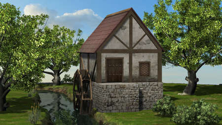Water mill on the brook between trees on blue sky background 写真素材