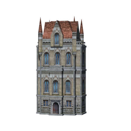 medieval cathedral in front view - isolated on white background
