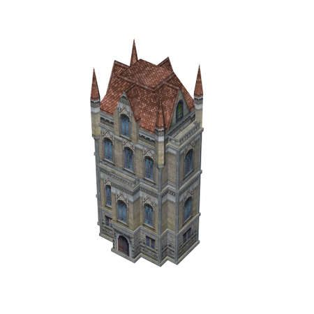 top view of a medieval cathedral - isolated on white background Stok Fotoğraf