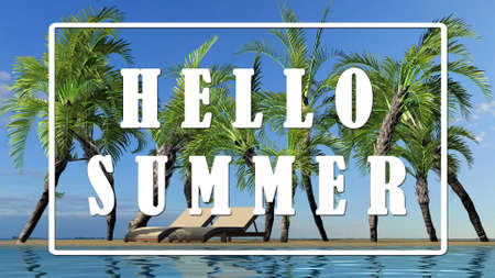 Text - Hello Summer - Island summer landscape, Holiday destination concept